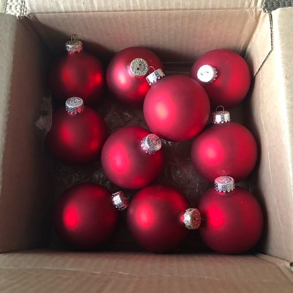 Ten Matte Red Christmas Ornaments